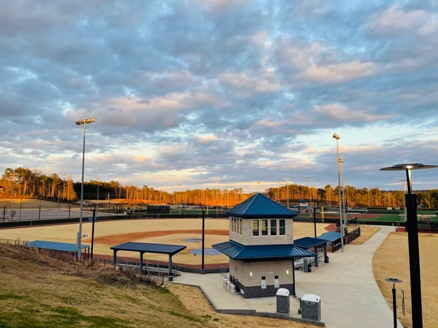 Hoover Metropolitan Complex baseball field with clouds in sky