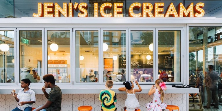 kids sitting at an ice cream counter
