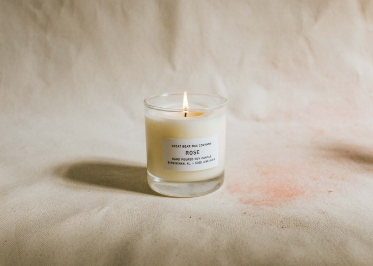 Rose candle from Great Bear Wax Company - floral products in Birmingham