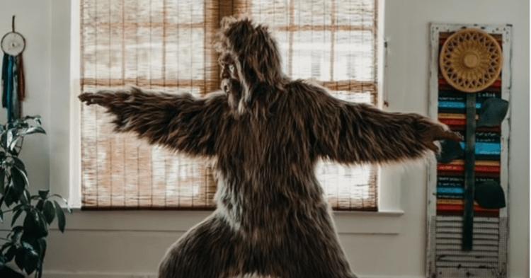 Bigfoot doing yoga inside - unique Birmingham characters
