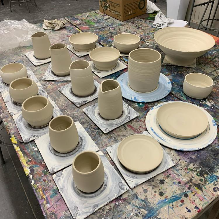 Various pottery creations from Sips N Strokes