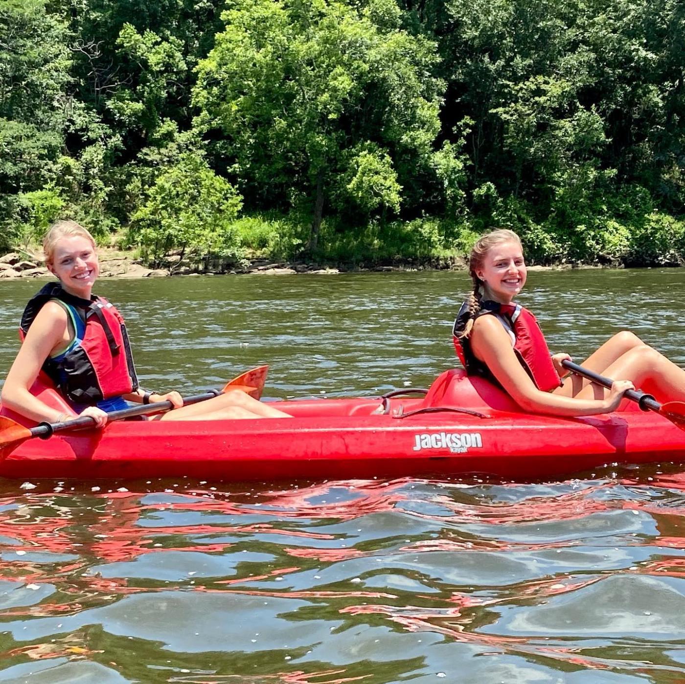 girls kayaking