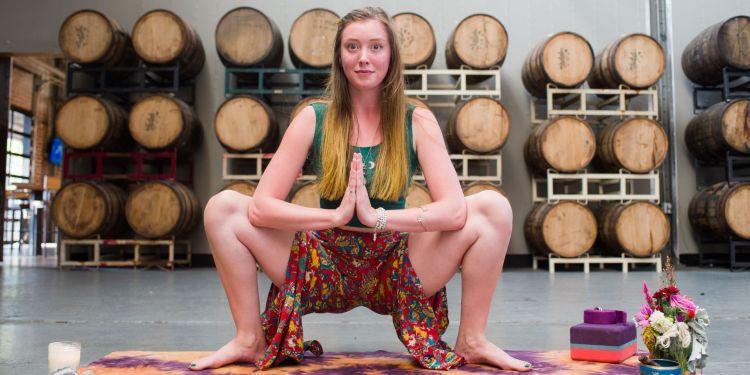 Yoga teacher Hayley Holdridge in Cahaba Brewing Co