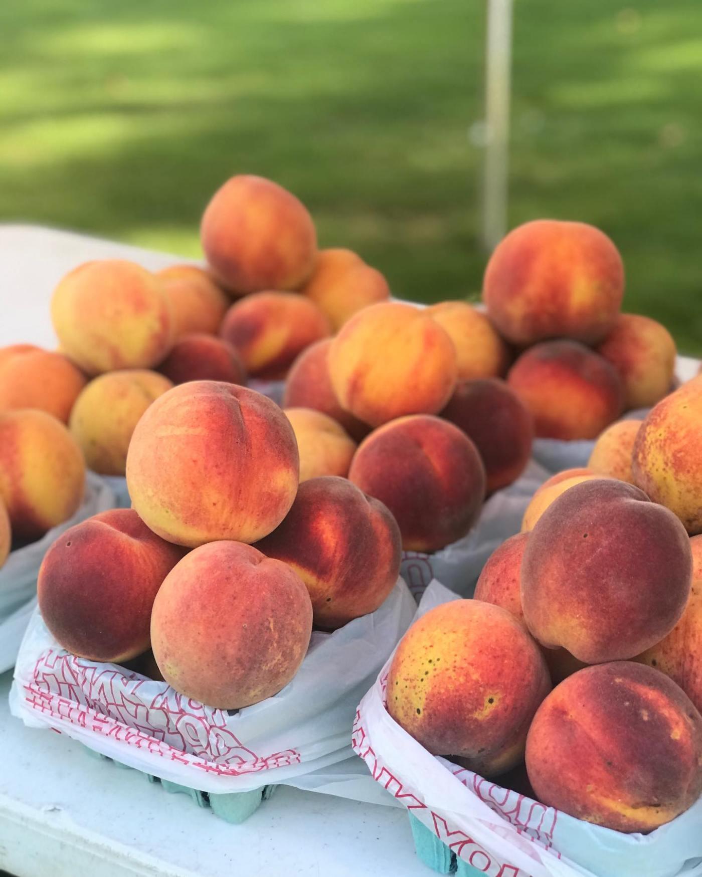 Beautiful peaches at farmers market
