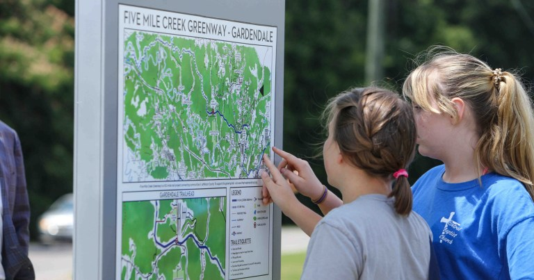 The Five Mile Creek Greenway runs from Fultondale to Gardendale. Photo courtesy of Freshwater Land Trust.