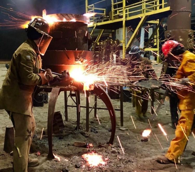 welders making sparks