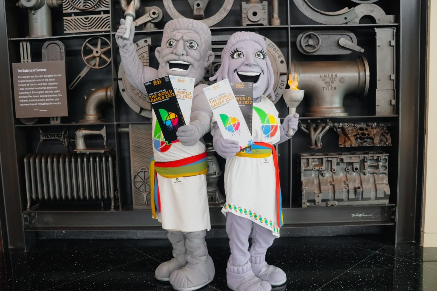 Vulcan and Vesta pose with tickets to The World Games 2022