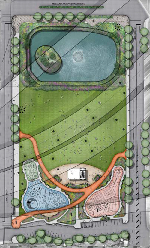 Block H: 24th Street to 25th Street GATEWAY TO CITY WALK WITH POND AND PLAYGROUND