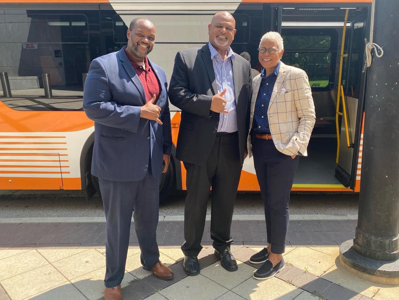 Councilor Hoyt visited the Birmingham Rapid Transit bus today.  Photo via Birmingham City