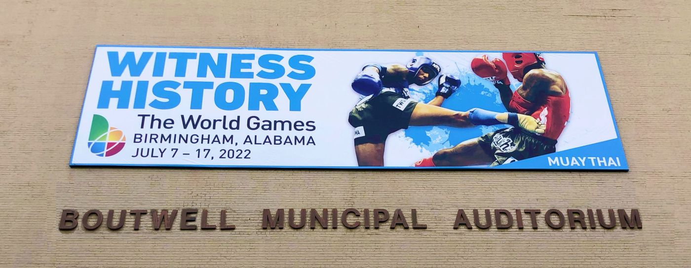 sign at one of the venues for the world games