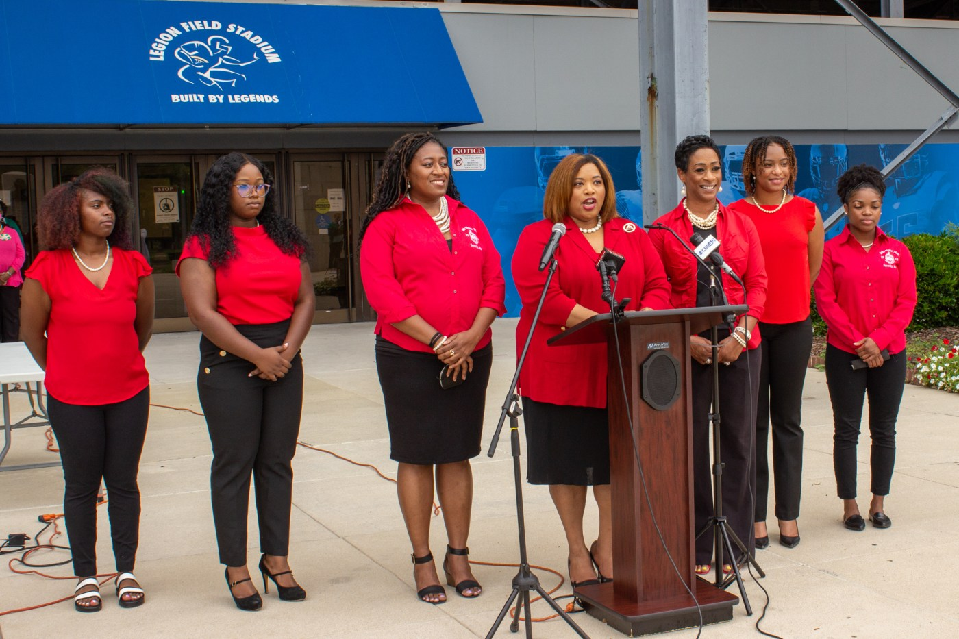 Members of the Delta Sigma Theta sorority urged for everyone to get vaccinated. Photo via Libby Foster for Bham Now
