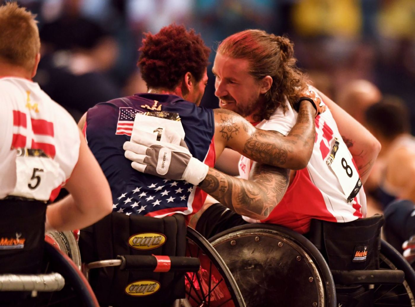 The World Games 2022 inclusion - two wheelchair rugby players pat each other on the back