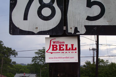 Bell for mayor sign