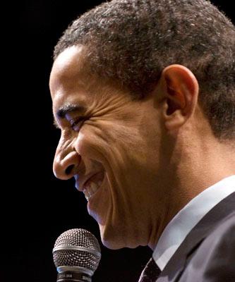 Barack Obama smiles on Birmingham