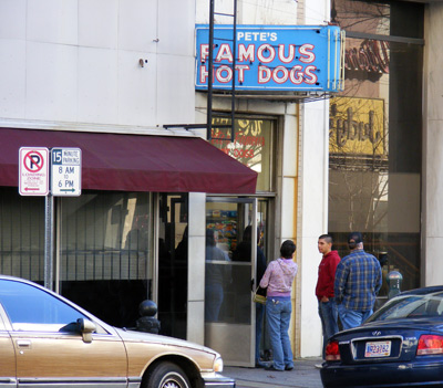 The line in front of Pete's Famous Hot Dogs, the week of Christmas 2007