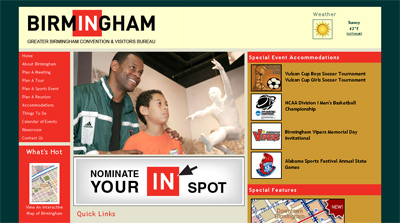 """In"" Birmingham campaign in use on CVB website"