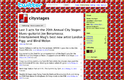 Screenshot of City Stages' Twiter profile