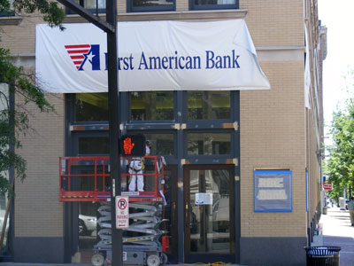 RBC Bank sign installation in downtown Birmingham