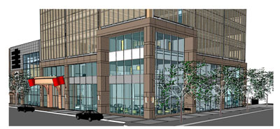 Rendering of proposed facade changes on Regions Plaza. Special to bhamterminal.com