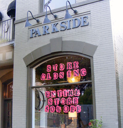 The signs on the window, Parkside's closing. acnatta/Flickr