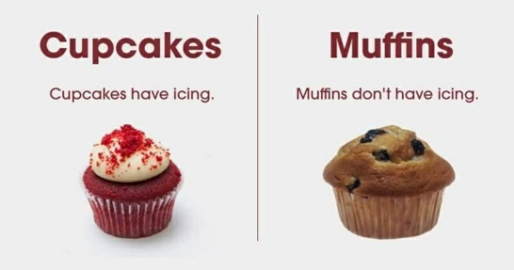 what is difference between cupcakes and muffins