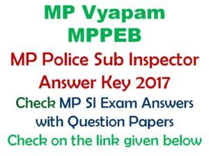 MP Police SI Answer Key