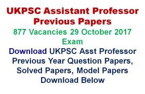 UKPSC Assistant Professor Previous Papers