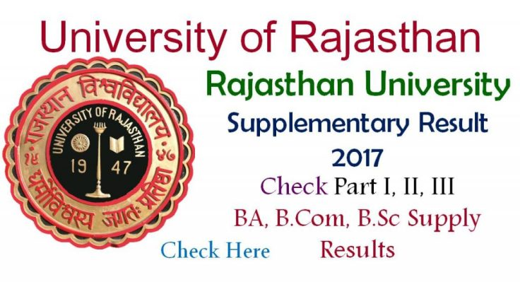 Uniraj.ac.in Rajasthan University Supplementary Result 2017