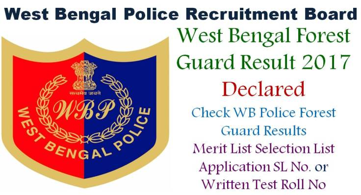 WB West Bengal Forest Guard Result Merit List Selection List