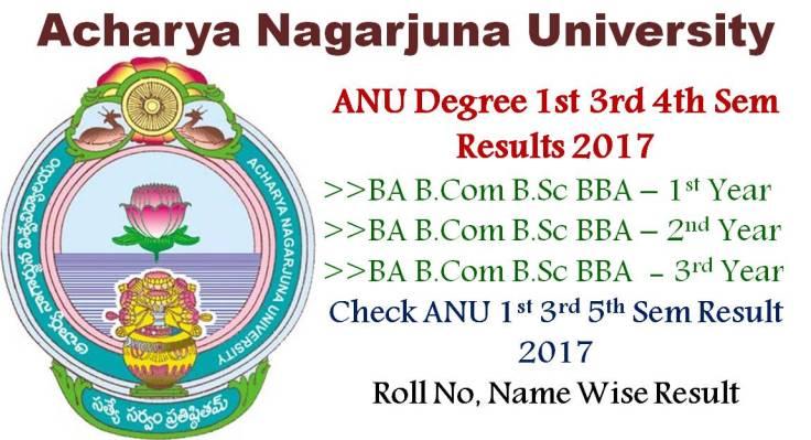 ANU Degree 1st 3rd 5th Sem Results