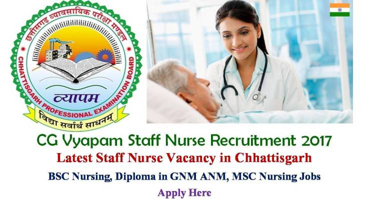 CG Vyapam Staff Nurse recruitment 2017