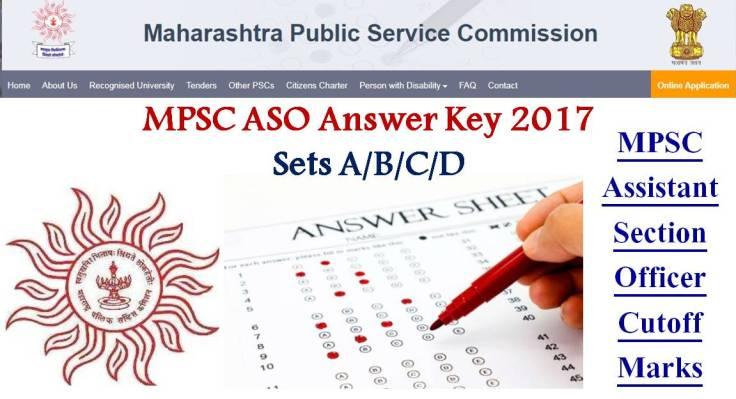 MPSC ASO Answer Key 2017 Sets A B C D