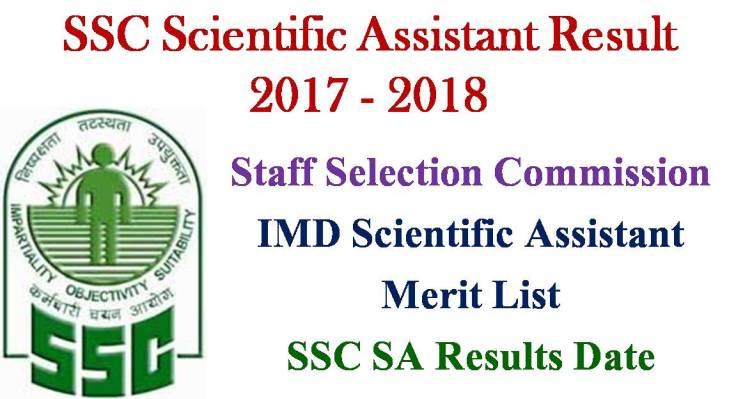 SSC IMD Scientific Assistant Exam Result