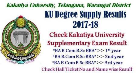Check KU Degree Supply Results 2019 - Kakatiya University BA BCom