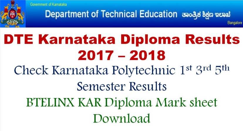 DTE Karnataka Diploma Results 1st 2n d 3rd SEMESTER