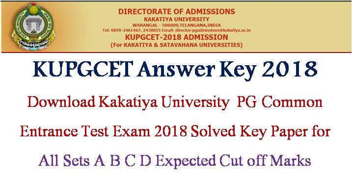 KUPGCET Answer Key, KU PGCET 2018 Key Paper, Kakatiya University PGCET Solved Answer Key
