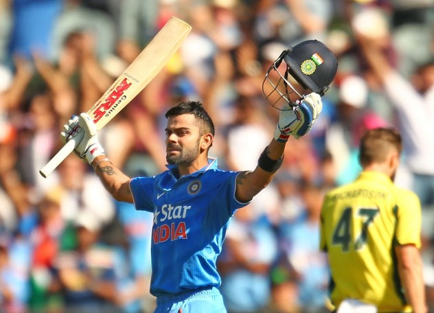 during game three of the One Day International Series between Australia and India at Melbourne Cricket Ground on January 17, 2016 in Melbourne, Australia.