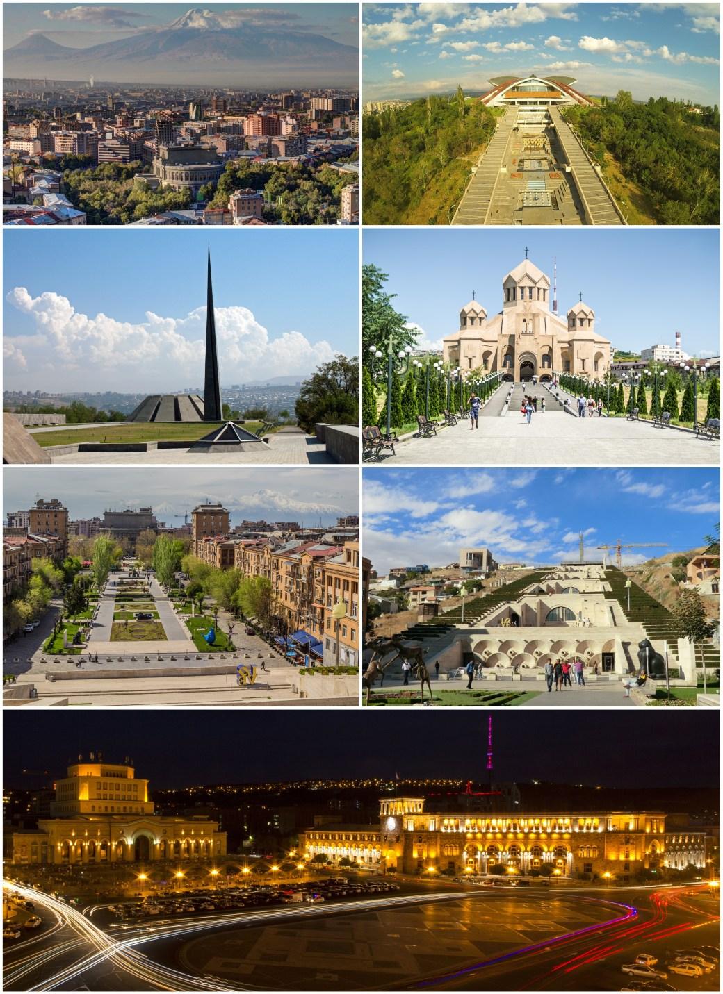 By SEE ABOVE. - File:Երեւան.JPG by Սէրուժ Ուրիշեան © {{cc-by-sa-3.0}}File:Մարզահամերգային Համալիր.jpg by Mosinyan © {{cc-by-sa-3.0}}File:Armenia - Genocide Monument (5034649480).jpg by Shaun Dunphy © {{cc-by-sa-2.0}}File:Cathedral Yerevan Saint Gregory.jpg by Elena Buntik © {{cc-by-sa-2.0}}File:View from the Cafesjian Center for the Arts.jpg by Սէրուժ Ուրիշեան (Serouj Ourishian) © {{cc-by-sa-3.0}}File:Cascade of Yerevan.JPG by Benoît Prieur © {{cc-by-sa-3.0}}File:Հանրապետության Հրապարակ.jpg by Sonanik © {{cc-by-sa-3.0}}, CC BY-SA 3.0, https://commons.wikimedia.org/w/index.php?curid=45315791