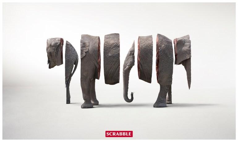 Scrabble elephant ad