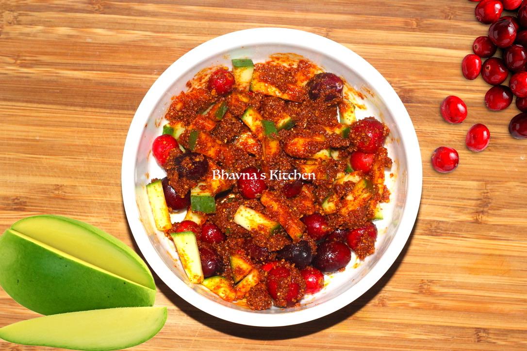 Instant Hot Mango Cranberry Pickle
