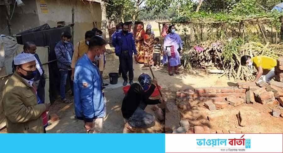 শ্রীপুরে নির্মাণাধীন ঘর ভেঙে সরকারি জমি উদ্ধার