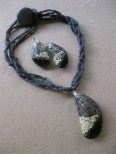 Grey Metallic Bead and Shell necklace