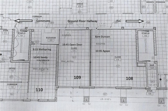 Map of Room Assignments - 1st floor