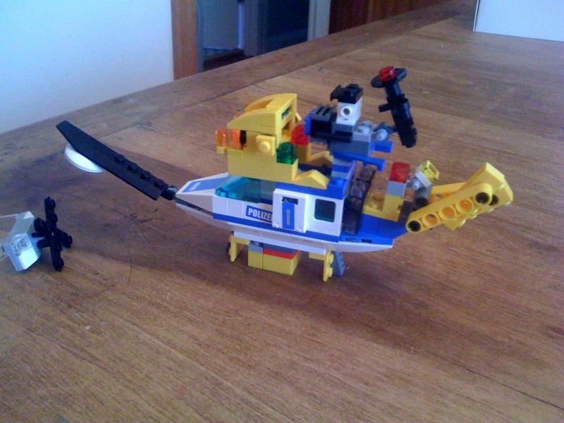 Lego flying machine contraption