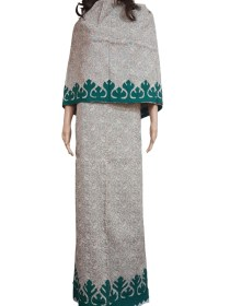 Beige Rida With Embroidered Murvey & Green Rally Work