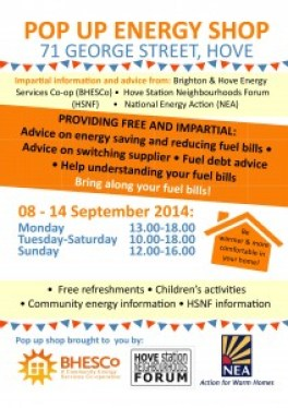 Pop Up Energy Shop 8-14 Sept