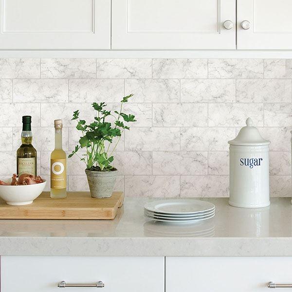 marble tile peel stick backsplash