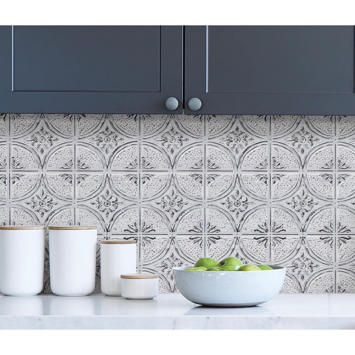 camden antique white faux tin peel and stick backsplash tiles