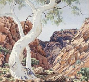 Lot 86, Albert Namatjira, Ghost Gum and Gorge, Central Australia, 1952, est. $30,000-40,000. Ghost Gum with the Mostest Plus Gorgeous Gorge