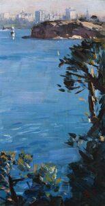 Lot 58, Arthur Streeton, Cremorne Point, Sydney Harbour, c1926, est. $60,000-80,000. Blue and blue chip